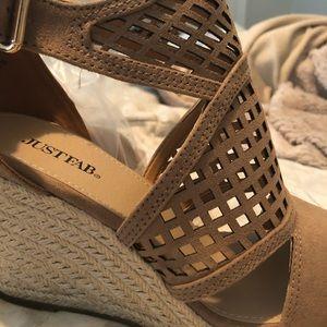 JustFab Wedge Sandal (never worn)